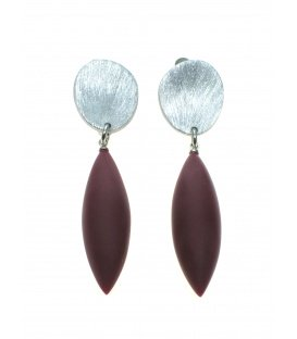 Culture Mix oorclips met bordeaux rode hanger en zilverkleurige clip