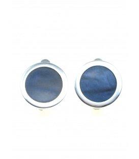 Donkerblauwe oorclips met een zilverkleurige rand van Culture Mix