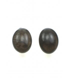 Ovale bruine oorclips met parelmoer inleg van Culture Mix
