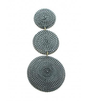 Zilverkleurige lange oorclips van Culture Mix gemaakt van kokos en zilverkleurig draad