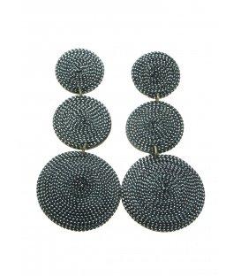 Zilverkleurige lange oorclips gemaakt van kokos en zilverkleurig draad