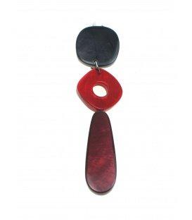 Mooie rode langwerpige oorclips van Culture Mix