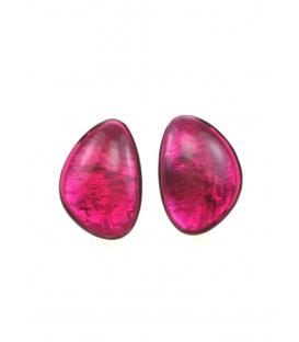 Culture Mix fuchsia roze oorclips met parelmoer inleg.
