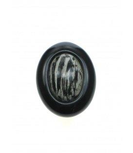 Zwart witte oorclips met zwarte rand gemaakt door Culture Mix
