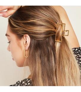 Goudkleurige rechthoekige metalen haarclip