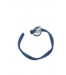 Ronde blauwe creool oorclips met bewerkte rand