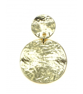 Mooie goudkleurige bewerkte oorclips met ronde hanger