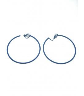 Ronde blauwe creool oorclips (6 cm.)