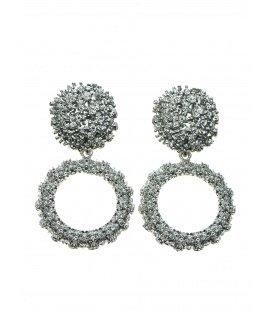 Zilverkleurige metalen oorclips met ronde hanger