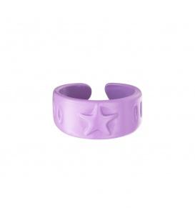 Paarse metalen candy ring met een ster