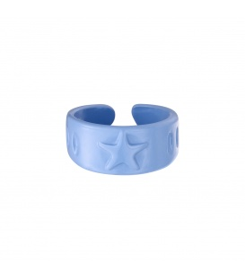 Lichtblauwe metalen candy ring met een ster
