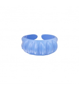 Blauwe candy ring met verticale ribbels