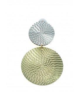 Dunne lichte metalen zilver met goudkleurige oorclips