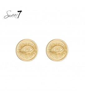 Goudkleurige oorbellen met een afbeelding een oog