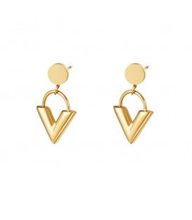 Goudkleurige oorbellen met als hangers in V vorm
