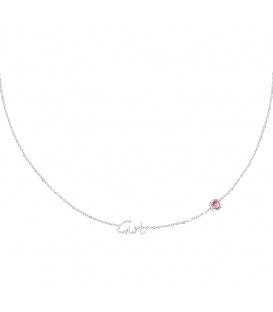Zilverkleurige halsketting met lichtroze geboortesteen meisje