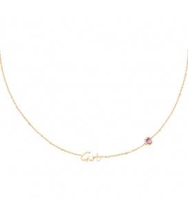 Goudkleurige halsketting met lichtroze geboortesteen meisje