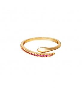 Goudkleurige verstelbare slangenring met roze zirkoonstenen