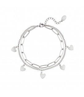 Zilvergekleurde schakelarmband met hartvormige hangertjes