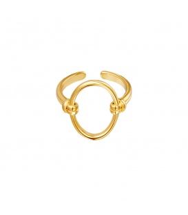 Goudgekleurde ring met een open ovaal