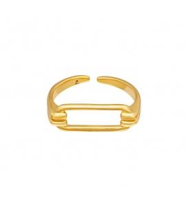 Goudkleurige ring met een geometrische vorm