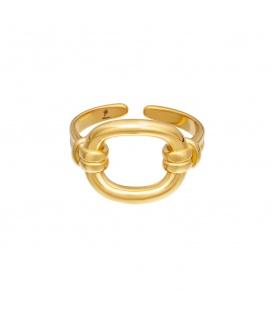 Goudkleurige ring met een open vierkant