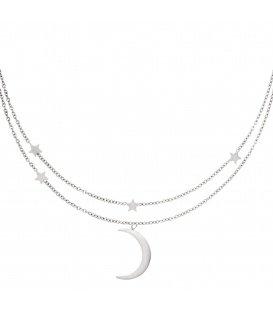 Zilverkleurige dubbele halsketting met sterretjes en een maan