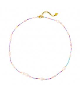 Gekleurde halsketting met pastel kralen en zoetwater parels