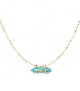 Goudkleurige halsketting met een blauwe natuurstenen hanger met het woord Lucky