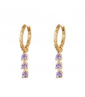 Goudkleurige oorbellen met als hanger 3 paarse strass steentjes