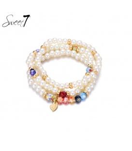 wit gekleurde kralen armband van Murano glaskralen.