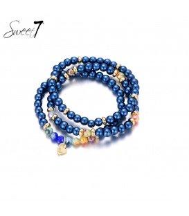 Blauw gekleurde kralen armband van Murano glaskralen.