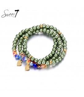 Groen gekleurde kralen armband van Murano glaskralen.