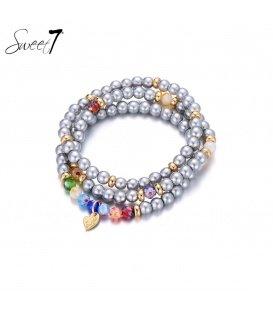 Zilver gekleurde kralen armband van Murano glaskralen.