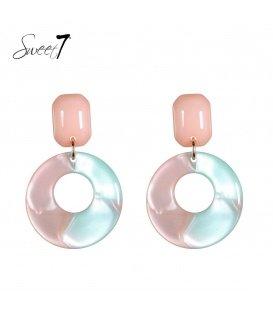 Gekleurde oorhangers met een resin ronde hanger