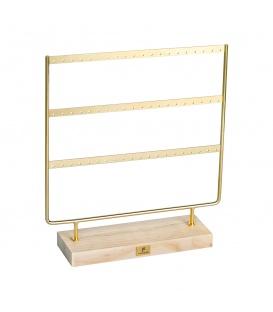 Goudgekleurde grote displayrek dat ruimte biedt voor 54 oorbellen (27 paar)