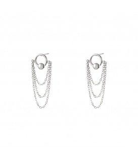 Zilverkleurige oorbellen met gelaagde kettingen