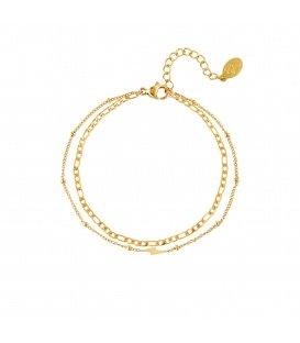 Goudgekleurde meerlaagse armband met een bliksemschicht