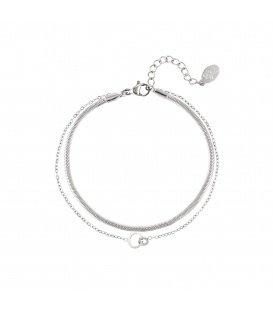 Zilvergekleurde meerlaagse armband met verbonden cirkels