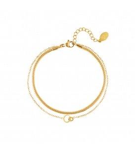 Goudgekleurde meerlaagse armband met verbonden cirkels