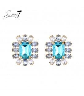 Blauwe vierkante oorbellen met steentjes rondom