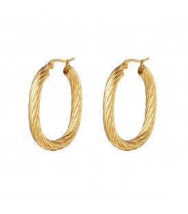 Goudkleurige grote oorringen in gedraaide ovale vorm