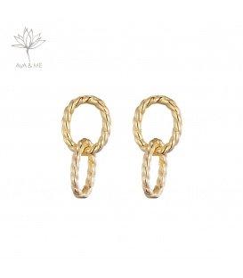 Zilveren goudgekleurde oorhangers van 2 ringen en een gedraaid motief (925)