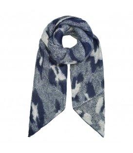 Donkerblauwe sjaal met panterprint