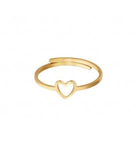 Goudkleurige ring met een open hart