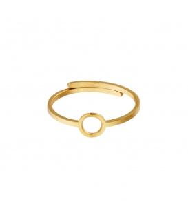 Goudkleurige ring met een open cirkel
