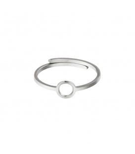 Zilverkleurige ring met een open cirkel