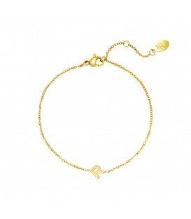 Goudkleurige armband met initiaal R
