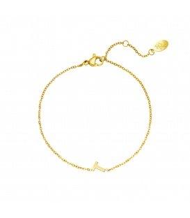 Goudkleurige armband met initiaal T