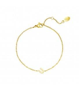 Goudkleurige armband met initiaal U